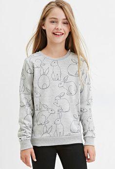 Girls Bunny Print Pullover (Kids) | Forever 21 girls - 2000183060