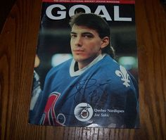 joe sakic quebec nordiques sign goal magazine vs hartford whalers - hall of fame from $25.0