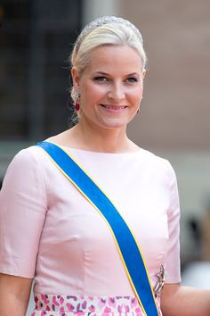Crown Princess Mette-Marit of Norway ,arrives at The Royal Chapel, at The Royal Palace in Stockholm for The Wedding of Prince Carl Philip of Sweden and Sofia Hellqvist on June 13, 2015 in Stockholm, Sweden.