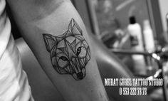 wolf tattoo arm tattoo geometrical tattoo '' tattoo artist by Murat GÜREL '' manisa dövme