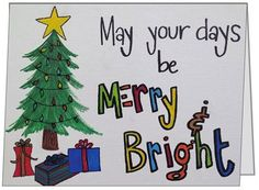 May Your Days Be Merry & Bright Christmas Card - Qty of 10 with 10 White Envelopes on Etsy, $15.00