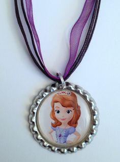 Sofia The First Birthday | Boutique Princess Sofia the First Bottlecap Pendant Necklace Party ...