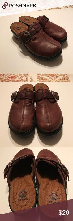 d11a70215502 Crocs brown clogs Crocs brown slip on wedge heel clogs. Nice brown leather  with brass. Women s CrocsCrocs ShoesBrass ...