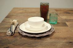 Set of 4 - Set of 3 White Ceramic Dinnerware - Bowl Salad Dinner