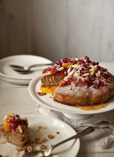 citrus pomegranate almond and poppy seed cake