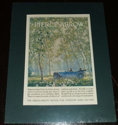 1920 Full Page Color Automotive Ad for Pierce-Arrow , Matted Ready to Frame.   A fine vintage automotive advertisement . This Classic car ad is 9 by 11 inches matted. See Photos   This vintage piece of cover art was matted by me personally and is now ready for framing. This would make a unique and special Gift. I do not sell reproductions and I have been matted and framing my own prints for years. A great piece of vintage magazine art.