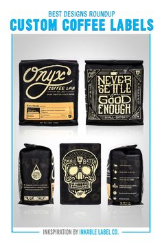 PLUS PRO DESIGN TIPS. Packaging carries the heart of your brand. For big inspiration, here are some of the best custom coffee label designs we've seen! Custom Packaging, Custom Labels, Coffee Label, Packaging Design Inspiration, Label Design, Best Coffee, Cool Designs, Big, Heart