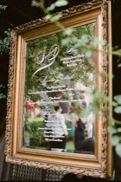 Drink Menu Elegant Calligraphy on Mirror - More of the wedding here: http://www.StyleMePretty.com/mid-atlantic-weddings/2014/03/31/blush-pink-wedding-at-keswick-hall/ Photography: Jen Fariello.com - #smp