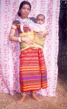 Hajong Woman with her Child in  Traditional Attire, Meghalaya, North East India