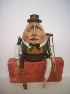 Your place to buy and sell all things handmade Paper Clay, Clay Art, Soft Sculpture, Sculptures, Get Well Gifts, Learn To Fly, Humpty Dumpty, Polymer Clay Dolls, Primitive Folk Art