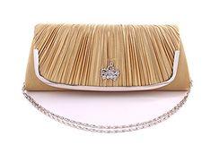 KISS GOLD (TM) Clutch Abendtasche Brauttasche mit elegantem Satin Gold