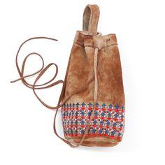 geometric embroidery leather chalk bag