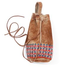 geometric embroidery leather chalk bag