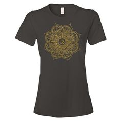 Om Mandala Namaste Gold Ladies Ringspun Fashion Fit T-Shirt