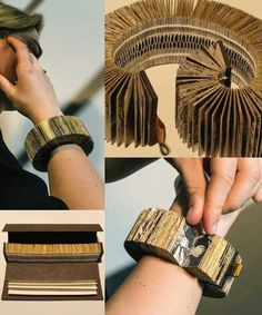"DIY Inspiration: Rembrandt Book Bracelet by Lyske Gais and Lia Duinker. The Rembrandt Book Bracelet by Lyske Gais and Lia Duinker won the 2015 Rijksstudio ""Make Your Own Masterpiece"" Award. Their bracelet was inspired by Rembrandt's 1635 etching ""De. Kirigami, Up Book, Book Art, Paper Book, Paper Art, Cut Paper, Buch Design, Book Sculpture, Paper Sculptures"