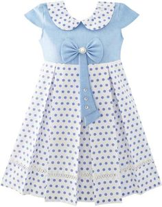 Girls Dress Polka Dot School Bow Tie Pearl Cap Sleeve Size 4-14 Years