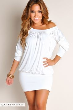 Ivory White Off-the-Shoulder Tunic Dress