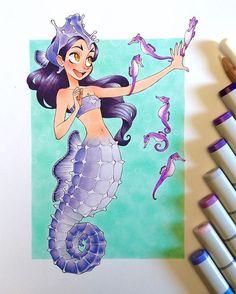 Made it! Last mermaid for #mermay , a purple seahorse mermaid (my daughter's request). #copic #copicmarkers #copicart #sakurajoker #chihirohowe