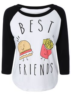 Hamburger Print Raglan Sleeve T-Shirt #CLICK! #clothing, #shoes, #jewelry, #women, #men