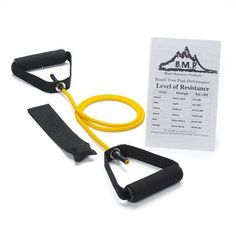 Black Mountain Products Single Resistance Band with Door Anchor - YELLOW L + A