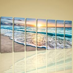 "Huge High Quality Giclee Prints On Canvas Contemporary Landscape Beach Ocean Extra Large Wall Art, Gallery Wrapped, by Bo Yi Gallery 76""x36"". Huge High Quality Giclee Prints On Canvas Contemporary Landscape Beach Ocean Subject : Beach Style : Photography Panels : 7 Detail Size : 10""x36""x7 Overall Size : 76""x36"" = 193cm x 91cm Medium : Giclee Print On Canvas Condition : Brand New Frames : Gallery wrapped [FEATURES] Lightweight and easy to hang. High revolution giclee artwork/photograph…"