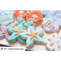Um capricho só esses biscoitos da @maecomacucar. Lindos!  #biscoitosdecorados #cookies #sereia #festapequenasereia #littlemermaidparty #festademenina #letsparty