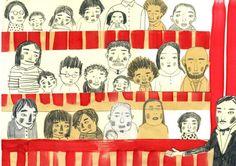 Chiara Carrer Il circo di Berta e Pablo Circus audience - Illustration Inspiration, Children's Book Illustration, Carnival Themes, Carrera, All Art, Paper Dolls, Collages, Childrens Books, Illustrators