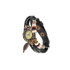 Black+Weave+Leaf+Leather+Vintage+Bangle+Bracelet+Quartz+Wrist+Watch