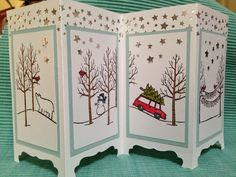 Stampin' Up! ... handmade Christmas card by Five Bichons and Me ... four panel screen format ... framed sections of winter scene .... stars border punch puts backed in shiny metallic gold ... lovely!