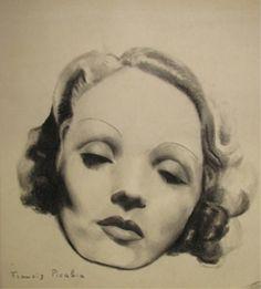 (1879-1953), ca. 1940, Portrait de femme, Marlene Dietrich, Charcoal on paper.
