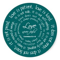 Love is Patient White on Teal Christian Wedding Round Stickers