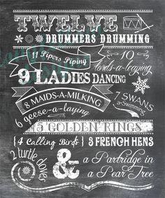 Twelve Days of Christmas  Chalkboard Look by Longfellowdesigns, $20.00