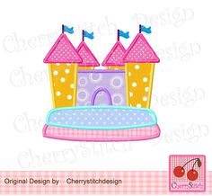 Bounce house digital applique 4x4 5x7 por CherryStitchDesign, $2.99