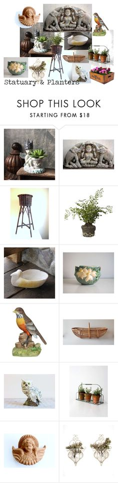 Statuary & Planters by vintageandmain on Polyvore featuring interior, interiors, interior design, home, home decor, interior decorating, BYRON, Holly's House, vintage and VintageAndMain