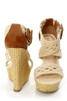 Bamboo Pompey 39 Beige Canvas Crocheted Wedge Sandals - $38.00