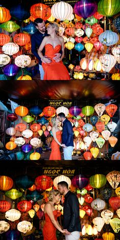 Multi-Coloured Lanterns Always Make Beautiful And Iconic Wedding Photos. #HoiAnEventsWeddings #HoiAn #VietnamBeachWeddings #Lanterns #Newlyweds #Wedding #Vietnam #Bride #Groom