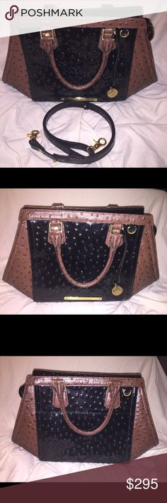 Brahmin Arden Ostrich handbag Angular satchel with detachable long strap, in ostrich-embossed genuine leather.  Dust bag included.  Glossy black and matte brown, with a nice wide exterior slip pocket for your phone and other small items.  In excellent condition.  Smoke-free home. Brahmin Bags
