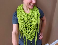 Scarf PATTERN Fringed Scarf Bandana Cowl by CrochetingwithClaire