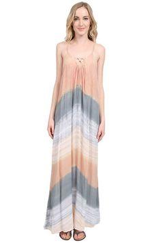 Tiare Hawaii Echo Beach Long Dress in Apricot/Grey