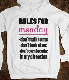 Get People to Back off with This 'Rules for Monday' Hoodie trendhunter.com:
