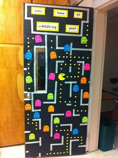 Check out this cool Pac Man classroom door idea featured in the Back to School Bulletin Board Ideas Roundup on OneCreativeMommy.com!