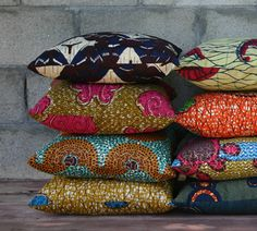 pillows made from African Wax Fabric  henry road