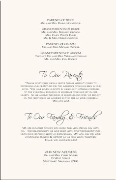 Thank You Wording For Wedding Programs Program Signs Pinterest Fall