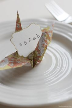 12 Paper Crane Name Place Cards / Origami Decor / by NANAZOOLAN, $18.00