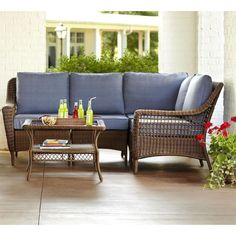 Hampton Bay Spring Haven Brown 5-Piece All-Weather Wicker Patio Sectional Seating Set with Sky Blue Cushions