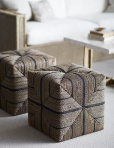 Hand-twisted lampakanai rope in a grey finish with black stripe details. Coordinates with the Fritz Rope collection. Round Storage Ottoman, Square Ottoman, Tufted Ottoman, Leather Ottoman, Furniture Upholstery, Furniture Design, My Old Kentucky Home, Roof Design, Dream Decor