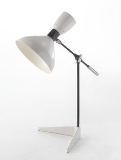 Olga Lee Baughman; Enameled Steel Table Lamp for Ralph O. Smith, c1949.