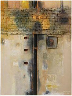 """Philippe Rillon - Architexture, très sage (2)"""" huile et technique mixte sur toile, 81x60cm, 2005."""