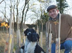 Richard with Swift and Molly checking young trees. 2012