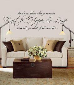 FAITH HOPE LOVE Vinyl lds Scriptures Quote Bible by vinylvineyard, $50.00